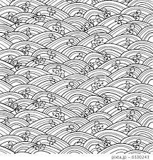 波パターン白黒のイラスト素材 6530243 Pixta