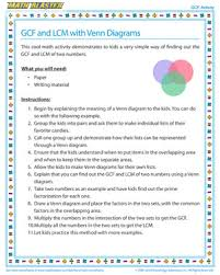 Venn Diagram Practice Sheets Gcf And Lcm With Venn Diagrams Gcf Activities Math Blaster