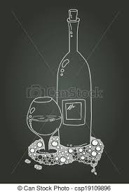 Wine Bottle And Glass With Doodle. Chalk Sketch - csp19109896