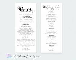 Ceremony Template Wedding Program Template Printable Diy Rustic Calligraphy