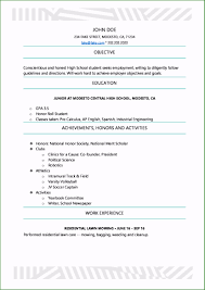 College Resume Template For Highschool Students Astonishing High