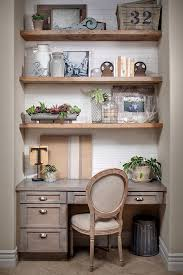 office in kitchen. farmhouse kitchen desk area with greywashed cabinets reclaimed shelves office in