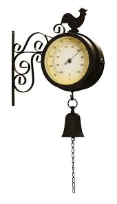 garden clock. Cockerel And Bell - 47cm (18¾in) Garden Clock With Thermometer By About Time