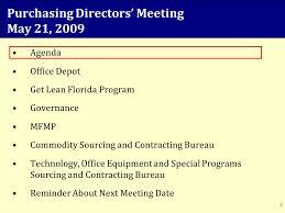 Agenda Office Purchasing Directors Meeting May 21 Agenda Office Depot Get Lean