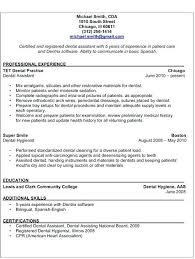Dental Assisting Resume Assistant Duties For Sample Ideas