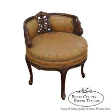 9252 antique 1930s french louis xv style swivel vanity bench w carved swans