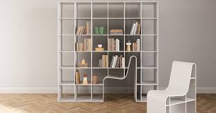 bookchair doubles as shelving and seating with chair that blends into bookcase