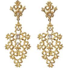 vintage gold tone diamante chandelier earrings