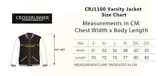 Varsity Jacket Size Chart Crj1100 Varsity Jacket