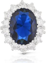 Kate middleton 's engagement ring was iconic long before prince william slid it onto her finger. Jankuo Jewelry Royal Family Kate Middleton Engagement Inspired Ring Blue Sapphire Color Cz Amazon Com