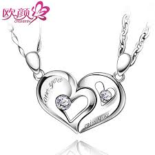 ouyan necklaces interlocking open heart puzzle pendants set in sterling silver love you and miss you engraved necklaces for him and her