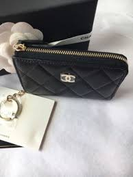 chanel key pouch. auth bnib chanel classic cc o-card holder coin purse zip pouch wallet key .