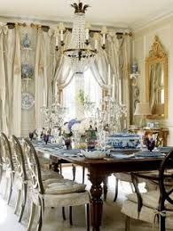 lovely blue and white porcelain used in this dining room cathy kincaid