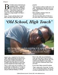 OLD SCHOOL, HIGH TOUCH' - California Business Journal