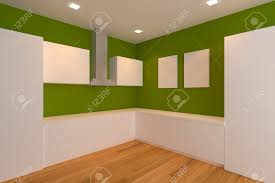 Empty Kitchen Wall Empty Interior Design For Kitchen Room With Green Wall Stock Photo