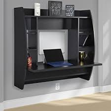 Best Choice Products Wall Mount Floating Computer Desk With Storage Shelves  Home Work Station- Black