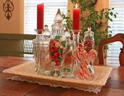 christmas dining room table centerpieces. Large Size Pleasant Christmas Centerpieces Ideas With Colorful Candies And Glass Jars Also Romantic Red Candles Dining Room Table E