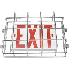 large cage style exit sign emergency light guards american wire exit sign installation instructions at Exit Sign Wiring Diagram