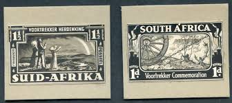 stamp auctions by corbitt stamps stamp auction south africa  1938 voortrekker commemoration 1d south africa 1½d suid afrika composite oversize essays of the issues designs in black touched in chinese white