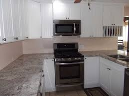 Apartment Kitchen Renovation Enchanting White Kitchen Cabinets With Beige Granite Countertops