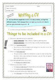 English worksheet: CV writing
