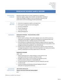 Warehouse Resume Sample Warehouse Worker Resume Samples Eager World Intended For Work 35