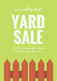 Green Background Fence Yard Sale Flyer Templates By Canva