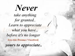 Love Life Dreams Quotes Best of Love Life Dreams Never Take Anything For Granted