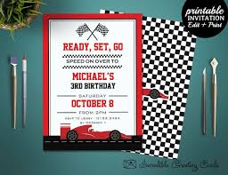 Boys Birthday Party Invitations Templates Race Car Birthday Invitation Boy Birthday Invitation