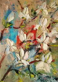 lovely magnolias original palette knife oil paint painting 30x21x0 1 cm