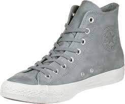 converse all star hi leather shoes color grey