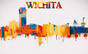wichita skyline painting colorful wichita skyline silhouette by dan sproul