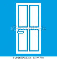 closed wooden door icon white csp49913294