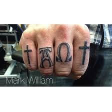 Alpha Omega Knuckle Tattoos Inner Vision Tattoo