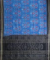 Blue (<b>Crayola</b>) <b>rose</b> ikat cotton Saree