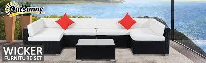 Amazon Outsunny 7 Piece Outdoor Patio Rattan Wicker Sofa