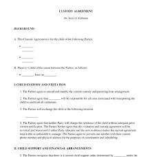 Custody Agreement Template Child Custody Agreement