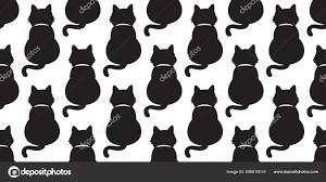 猫のシームレスなパターン ベクトル分離黒猫背景の壁紙イラスト