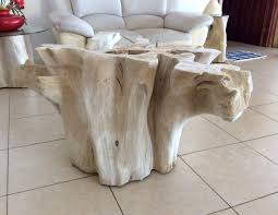 tree trunk coffee table white