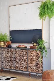 diy modern vintage furniture makeover. diy painted pattern furniture makeover with stencils decorated custom wood cabinet doors modern diy vintage