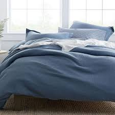 the company pryor organic cotton shadow blue solid twin duvet cover