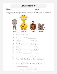 Comparing Heights Printable Grade 1 Math Worksheet