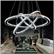 3 rings crystal led chandelier pendant light fixture crystal light re hanging suspension light for dining room foyer stairs crystal led chandelier led