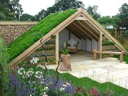 garden hut. Beautiful Garden Exceptional Garden Hut With Grren Roof And Growing Walls  Garden  Structures Pinterest Huts Walls Gardens Inside Hut G