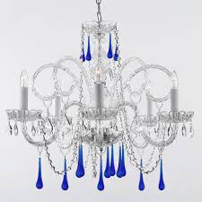 empress 5 light crystal chandelier with blue crystal trimmed with swarovski crystal