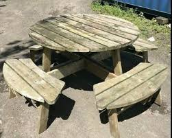 heavy duty round outdoor table n bench set commercial garden patio furniture 3