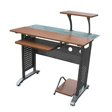 brown wooden desk with keyboard shelf combined with smaller shelf above also black steel legs