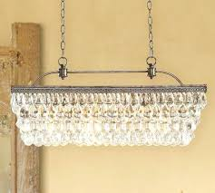 chandeliers glass drop chandelier pottery barn extra long rectangular weston crystal antique silver finish