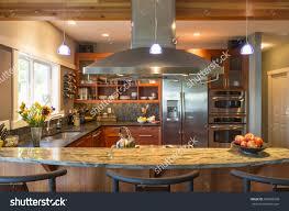 Upscale Kitchen Appliances Breakfast Bar Contemporary Upscale Home Kitchen Stock Photo