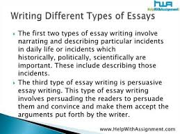 essay type different essay type
